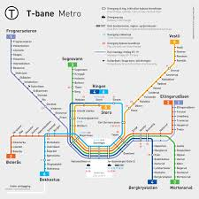 Metro Lines Map by Official Map Oslo T Bane Metro System An Transit Maps