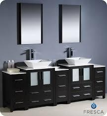 To  Torino Double Vessel Sink Vanity Espresso Bathgemscom - Black bathroom vanity with vessel sink