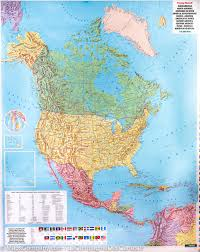 Centro America Map by Wall Map Of North And Central America Political And Physical
