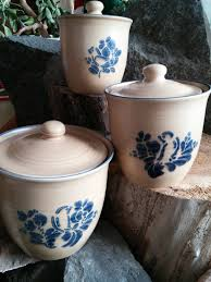 Vintage Kitchen Canister Set Canister Set Vintage Pfaltzgraff Blue Bird Pottery Canister Set