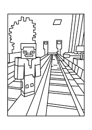 railroad minecraft coloring pages free printable minecraft