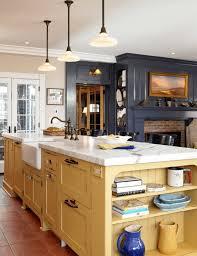 kitchen yellow stained wooden kitchen island white marble