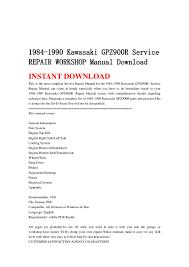 1984 1990 kawasaki gpz900 r service repair workshop manual download