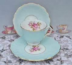 vintage bone china tea trio made by english china maker aynsley