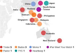 The Dating Game   BBC News     Map showing Asia     s most downloaded dating apps in