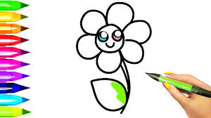 simple flower coloring pages for kids easy example how to draw