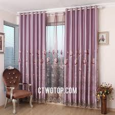 pastoral light purple living room curtains with gauze and cloth fabric