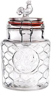 Glass Canisters For Kitchen Amazon Com Palais U0027rooster U0027 High Quality Clear Glass Canister