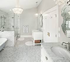atlanta carrara marble subway bathroom traditional with white