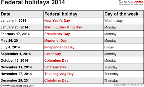 the date of thanksgiving 2014 federal holidays 2014