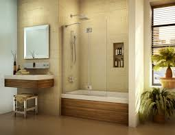 awesome bathtub shower designs with white tub unify wooden frames
