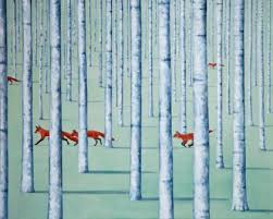 Rebecca Campbell artist, paintings and art at the Red Rag British ... - Rebecca-Campbell-7606-Skulk-of-foxes