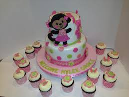 monkey baby shower cake and cupcakes all decorations are made