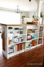 golden boys and me bookshelves turned kitchen island ikea hack