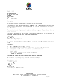 Advisory Board Appointment Letter Template Wipro Offer Letter Employee Benefits Employment