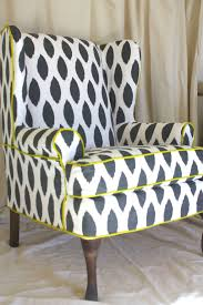 product gallery the upholstery loft decorative black white wingback chair slipcover with yellow accents
