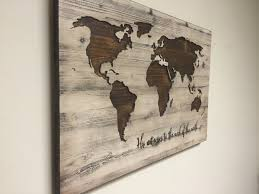 Wood Decor by World Map Wall Art Spiritual Vintage Carved Wood Map His