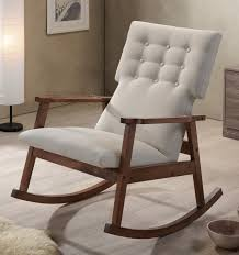 Rocking Recliner Nursery Midcentury Modern Fabric Upholstered Button Tufted Rocking Chair