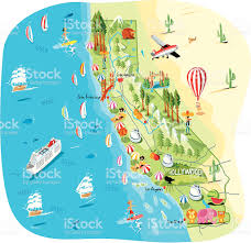 Los Angeles County Map by Cartoon Map Of California Stock Vector Art 165762958 Istock