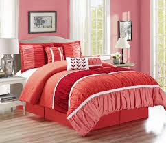 Red King Comforter Sets 7 Piece Ruched Coral Red Comforter Set