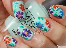marias nail art and polish blog multi color floral nail art on mint