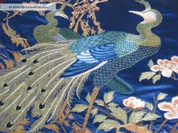 Silk Peacock Home Decor by Japanese Embroidery Antique Japanese Silk Hand Embroidered