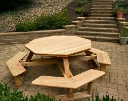 Building Plans For Picnic Table Bench by Octagonal Picnic Table Plans System Photo On Mesmerizing