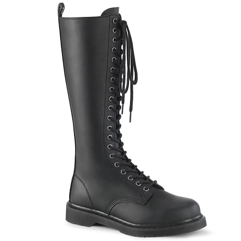 Demonia BOLT-400 Knee High Lace up Combat Boots Black