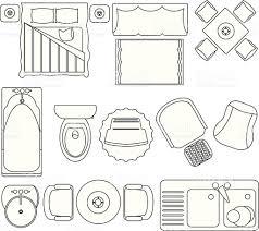 Interior Design Symbols For Floor Plans by Simple Furniture Floor Plan Set2 Stock Vector Art 135174007 Istock