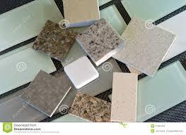 Kitchen Backsplash Samples Backsplash Tiles And Quartz Countertop Samples Stock Photo Image