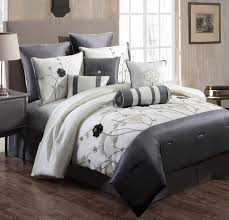 classy bedroom with semi silk bedding sets and comfort ivory grey