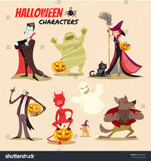cute cartoon halloween characters icon set stock vector 322543520