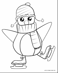 astonishing christmas penguin coloring page with cute christmas