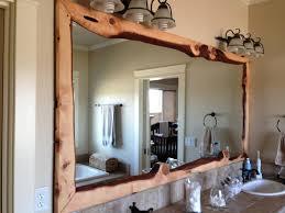 bathroom ideas wood framed large bathroom mirror above double
