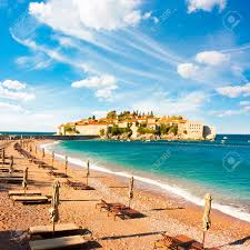 Luxury Beach Chair Sveti Stefan Island In Montenegro Balkans Adriatic Sea Beach