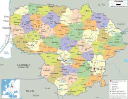 Political Map Of South America Detailed Clear Large Map Of Lithuania Ezilon Maps
