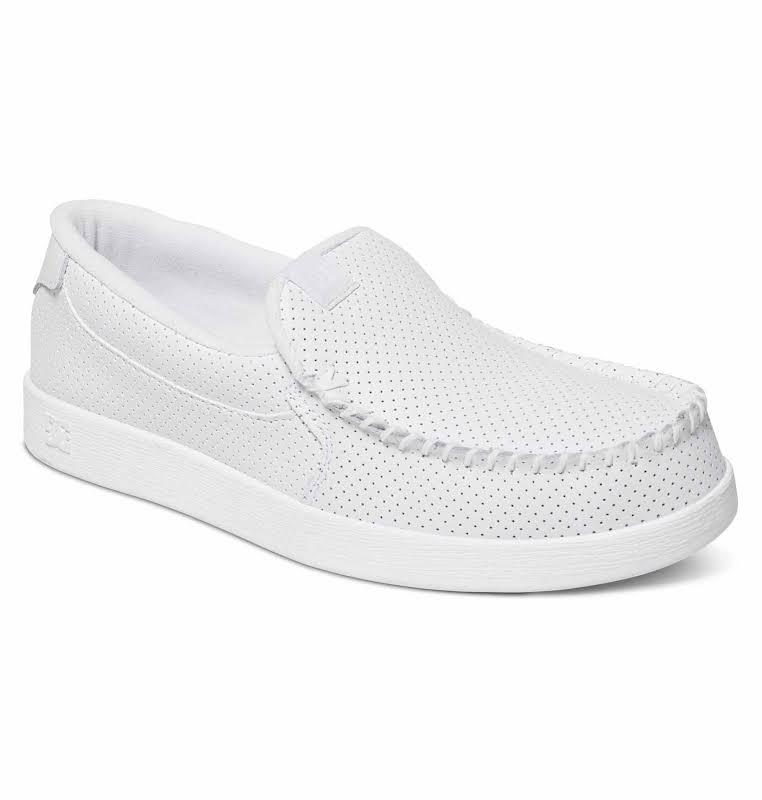 DC Villain 301361 White Nubuck Leather Athletic Skate Shoes
