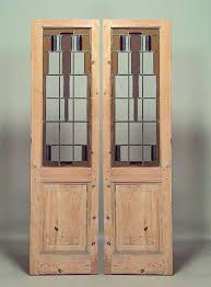 bevelled glass door pair of stained glass and stripped wood american mission doors for