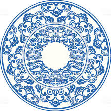circle with blue and white filigree pattern stock vector art