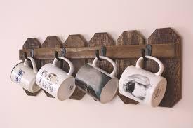 cedar coffee mug holder country kitchen farmhouse decor