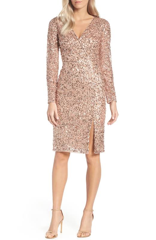 Adrianna Papell Sequined Surplice Cocktail Dress Pink 2