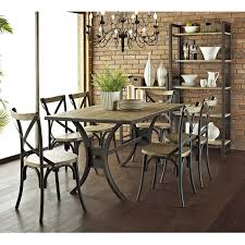 Wood Dining Room Amazon Com We Furniture Industrial Reclaimed Solid Wood Dining