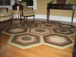 Multicolor Rug Decorating Charming Hexagonal Braided Rugs In Multicolor On