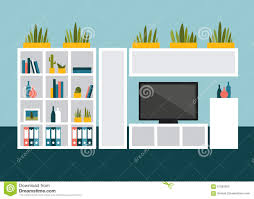 Living Room With Tv by Living Room With Tv And Book Shelves Stock Vector Image 61955952