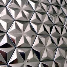 Metal Kitchen Backsplash Tiles Silver Tiles 3d Mosaic New Hexagon Mirror Metal Stainless Steel
