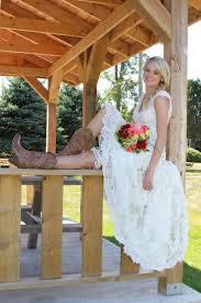 modest bohemian lace wedding dresses v neck high split side