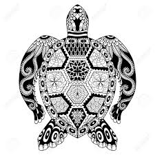 drawing zentangle turtle for coloring page shirt design effect