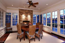 Dining Room Ceiling Fan by White Dining Room Stone Fireplace Zillow Digs Zillow