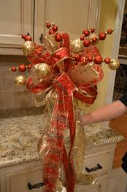 red and gold ribbon tree topper christmas wreaths pinterest