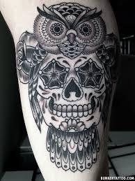 owl with skull tattoo u2013 bunker tattoo u2013 quality tattoos